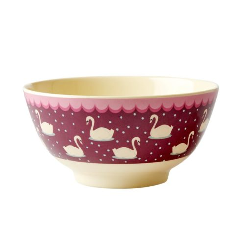 Rice melamine bowl swan bordeaux