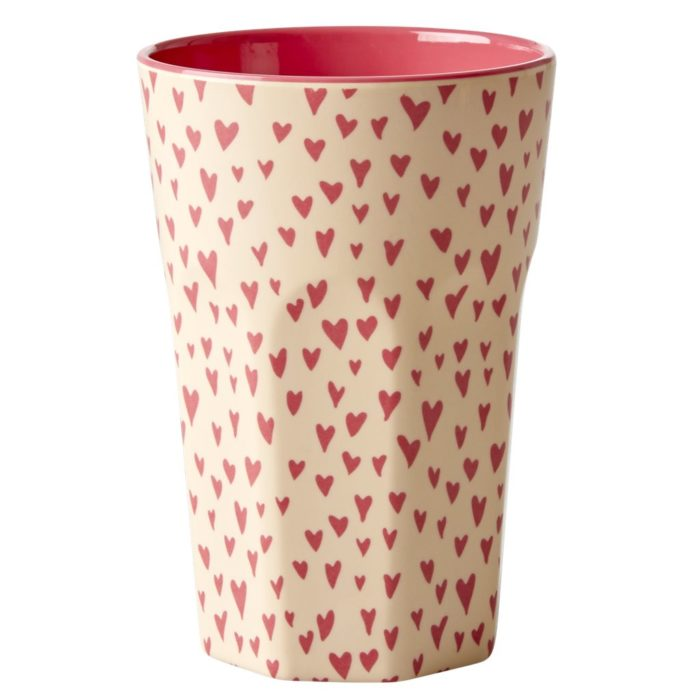 Rice melamine cup tall Small Hearts