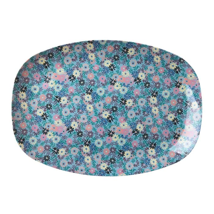 Rice rectangular plate small flower