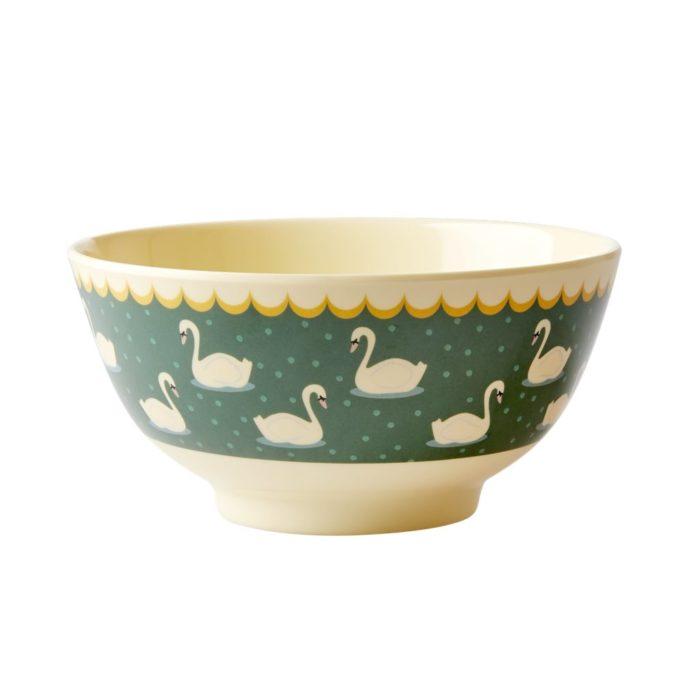 Rice melamine bowl swan khaki