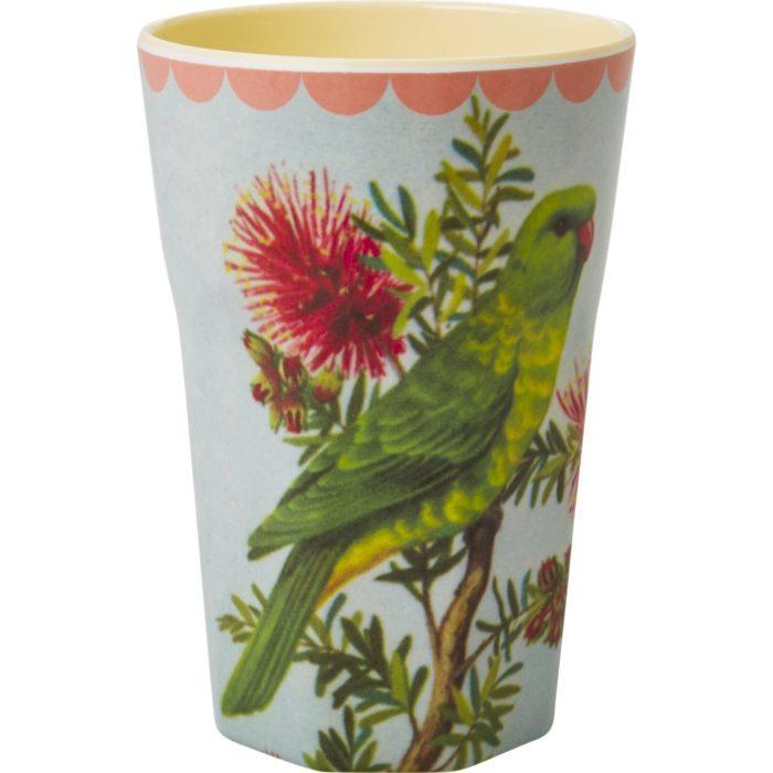 Rice melamine cup tall Parakeet