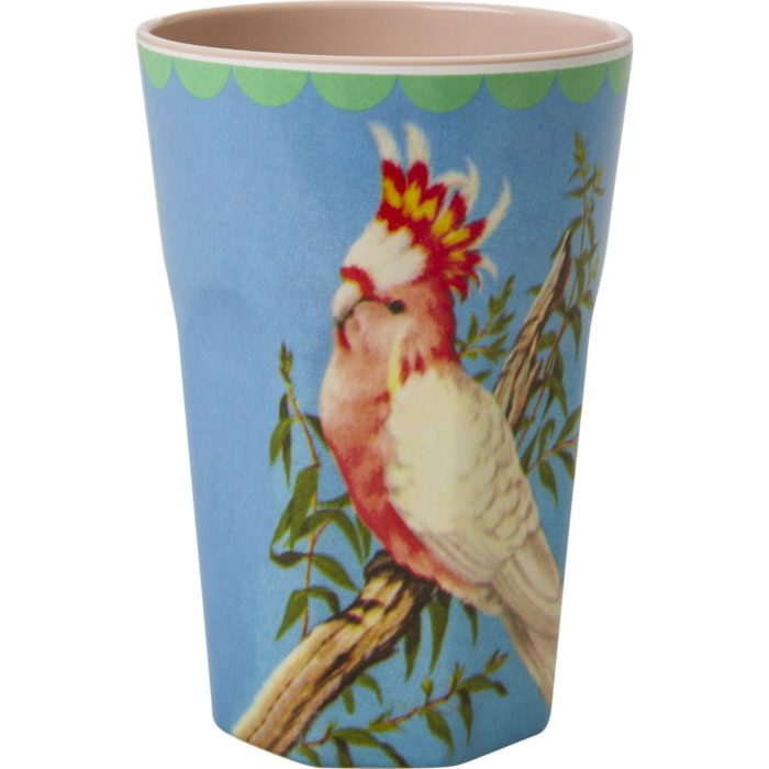Rice melamine cup tall Cockatoo