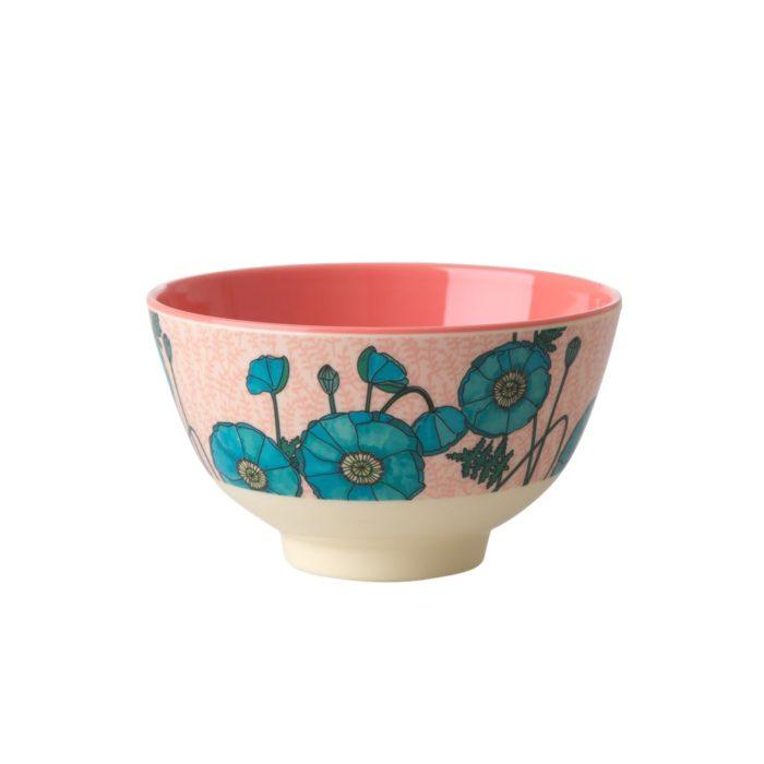 Rice melamine bowl small poppy