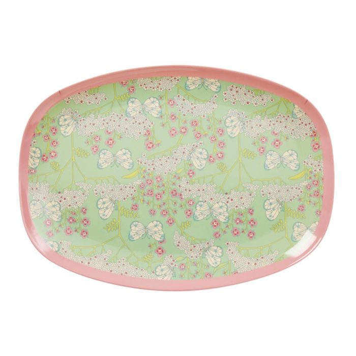 Rice rectangular plate Butterfly&FLowers