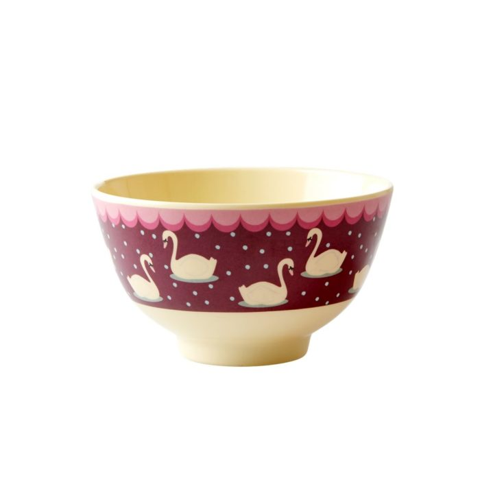 Rice melamine bowl small swan bordeaux