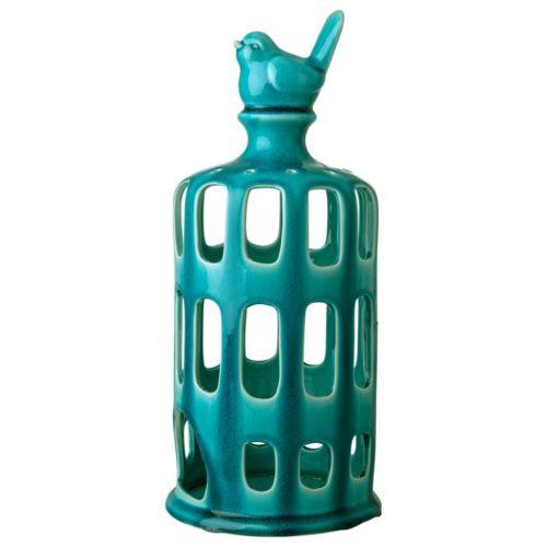 Rice ceramic Lantern Bird turquoise