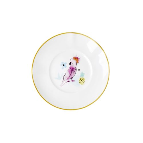 Rice porcelain dessert plate cockatoo print