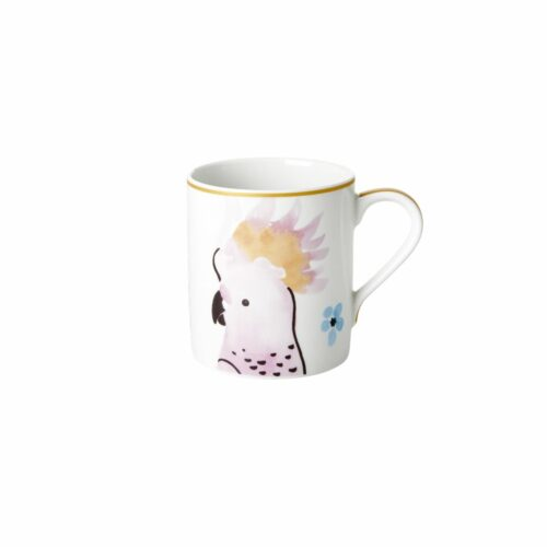 Rice porcelain mug cockatoo print 350ml