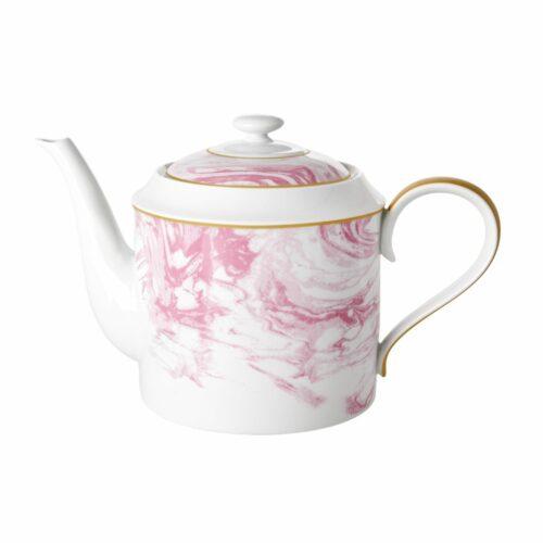 Rice porcelain teapot marble glaze 1280ml roze