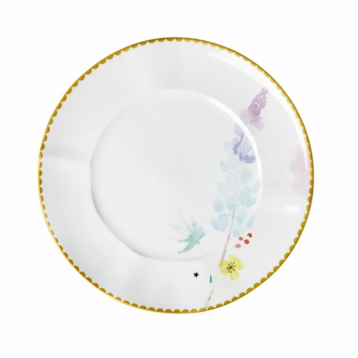 Rice porcelain plate 23cm blue lupin print