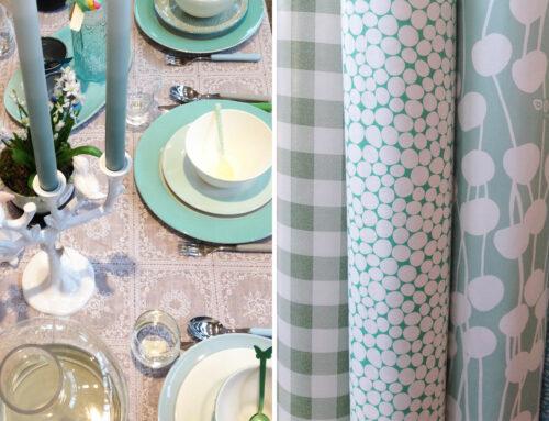 Blauw en groen op de ZININ eettafel