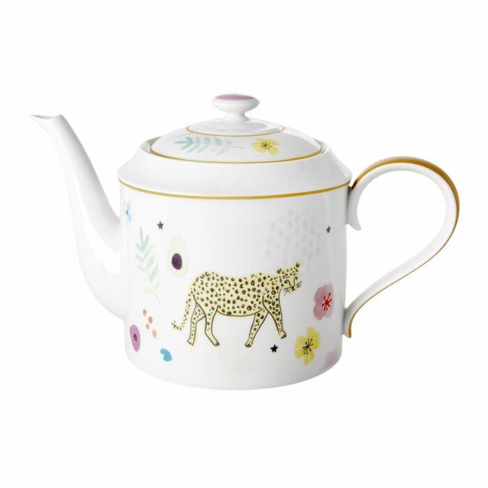 Rice porcelain teapot wild leopard print 1280ml