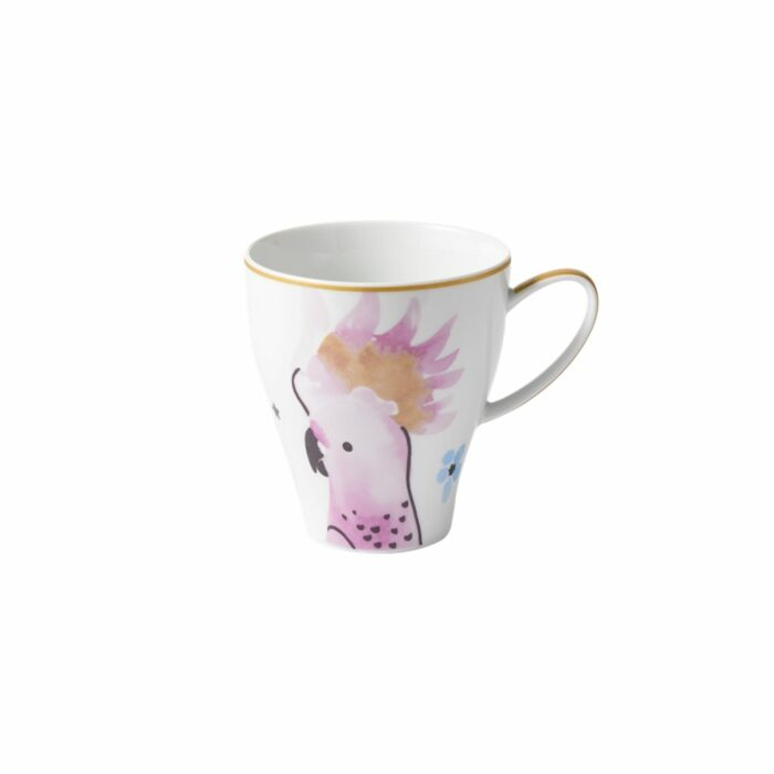 Rice porcelain mug cockatoo print 360ml