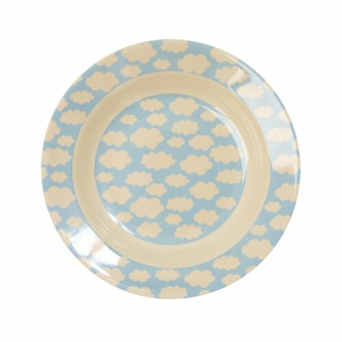 Rice melamine plate deep 20cm blauw