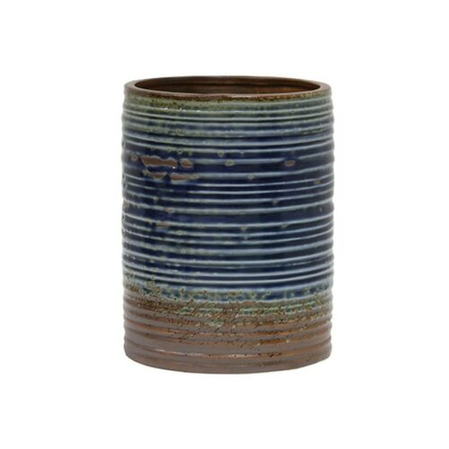 HK ceramic flowerpot blue/brown Large