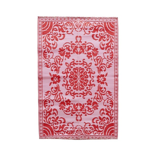 Rice plastic Floormat Circle Flower Pink/Red