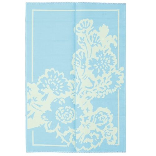 Rice plastic Floormat Big Flower Mint/Creme