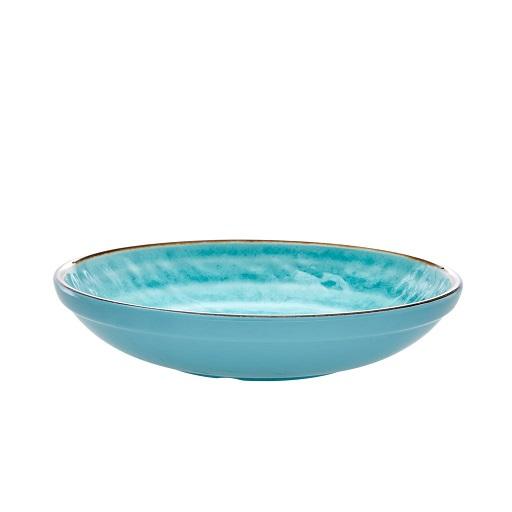 Rice melamine soup pasta bowl swirl aqua