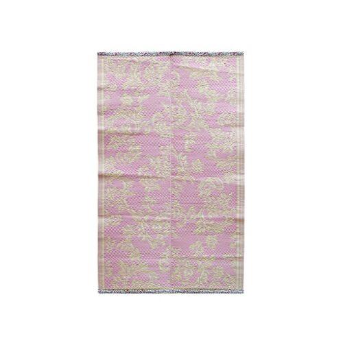 Rice plastic Floormat Flower pink/creme