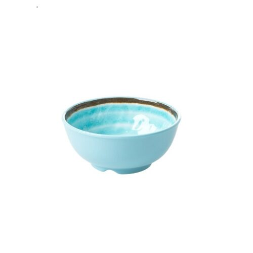 Rice melamine bowl swirl aqua small