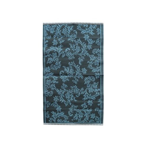 Rice plastic Floormat Flower grey/dblue