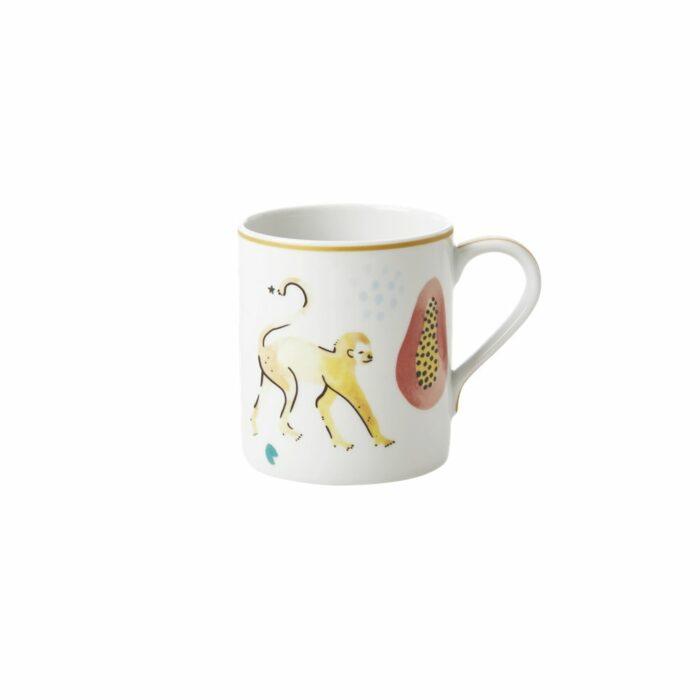 Rice porcelain mug monkey print 350ml