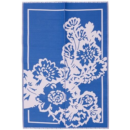 Rice plastic Floormat Big Flower Blue/Pink