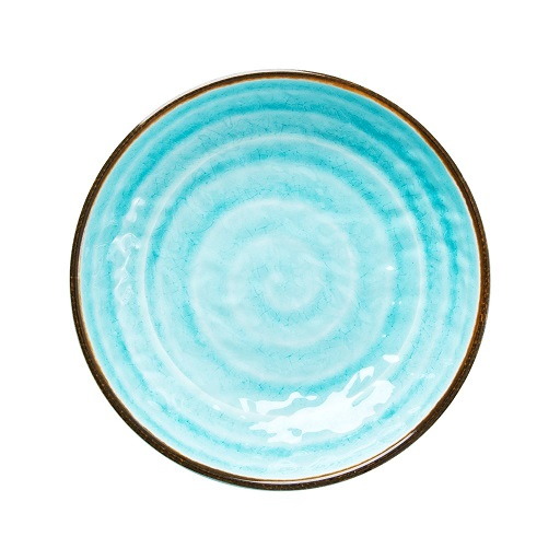 Rice melamine side plate swirl print aqua
