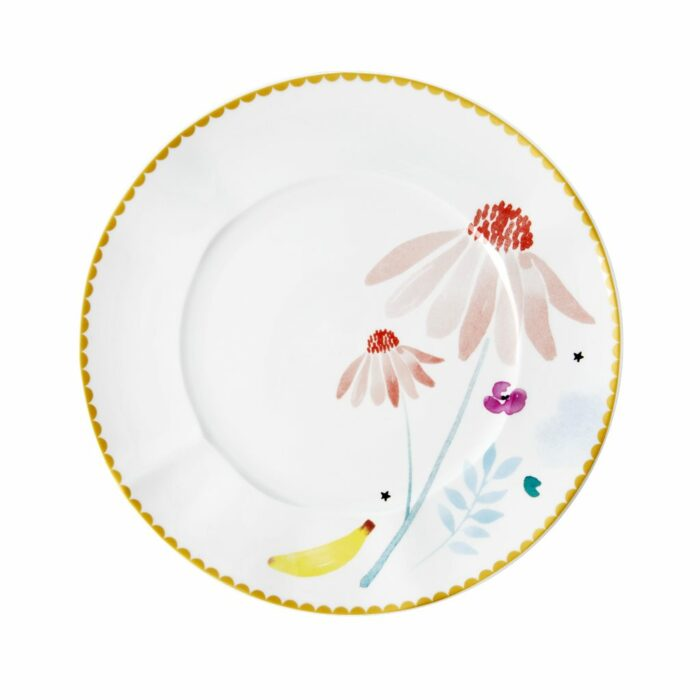 Rice porcelain plate 23cm pink chamomille print