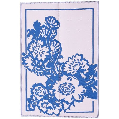 Rice plastic Floormat Big Flower Blue/Pink