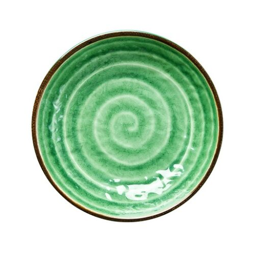 Rice melamine side plate swirl print green