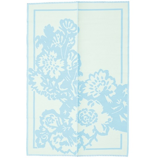 Rice plastic Floormat Big Flower Mint/Creme