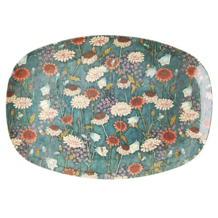 Rice rectangular plate Fall Flowers