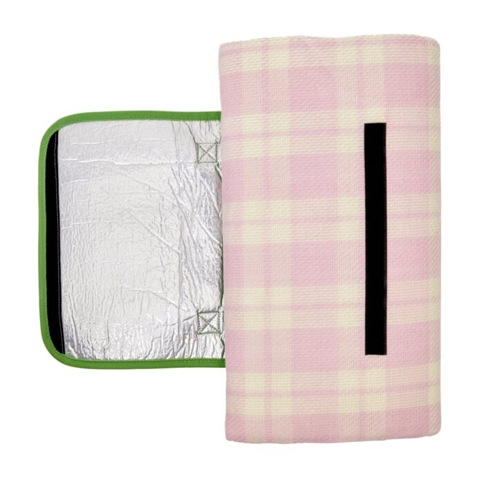 Rice Picnic blanket checked pink creme