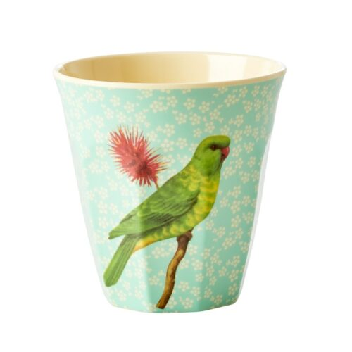 Rice cup M vintage bird green