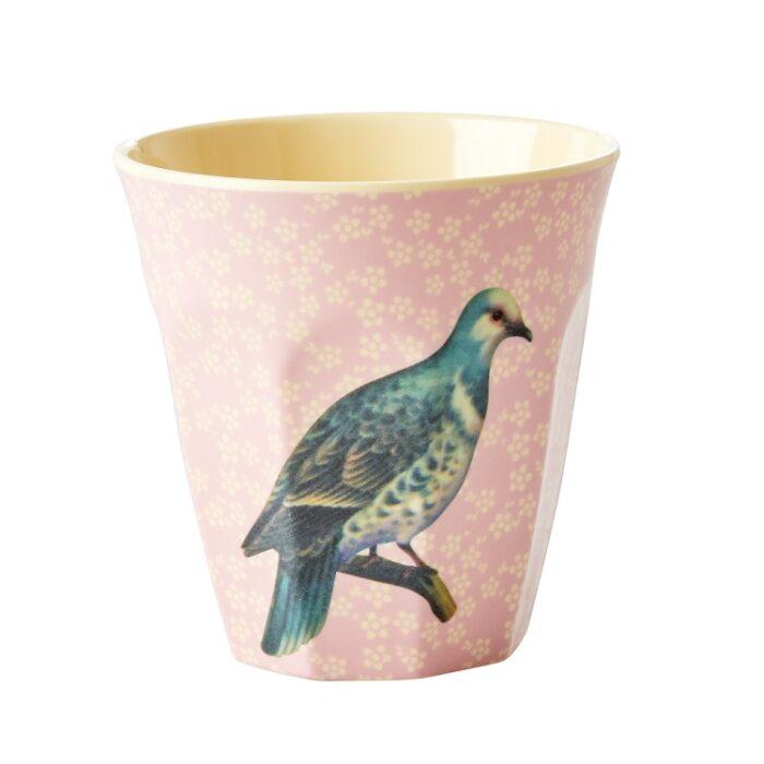 Rice cup M vintage bird soft pink