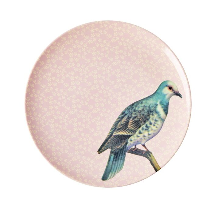 Rice mel side plate vintage bird soft pink