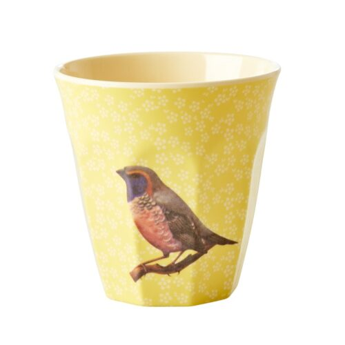 Rice cup M vintage bird yellow