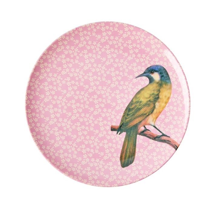 Rice mel side plate vintage bird pink