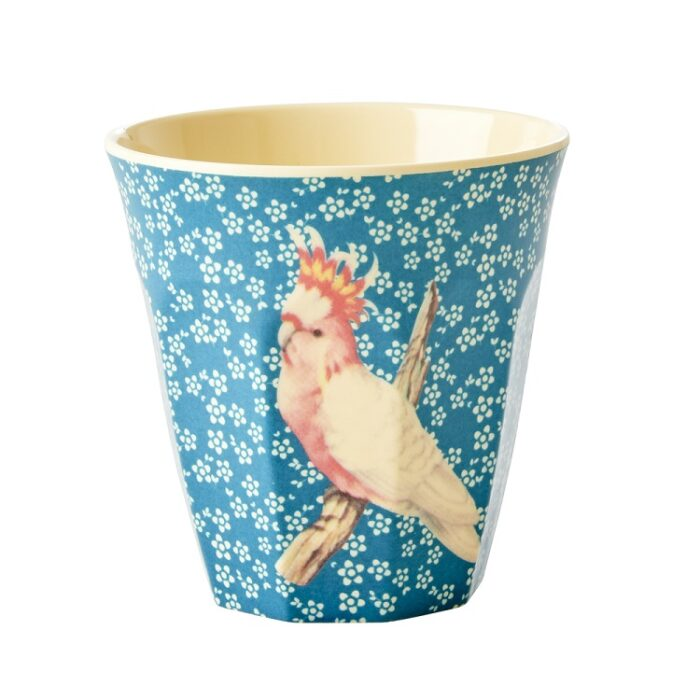 Rice cup M vintage bird blue