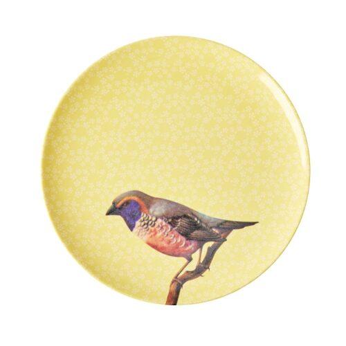 Rice mel side plate vintage bird yellow