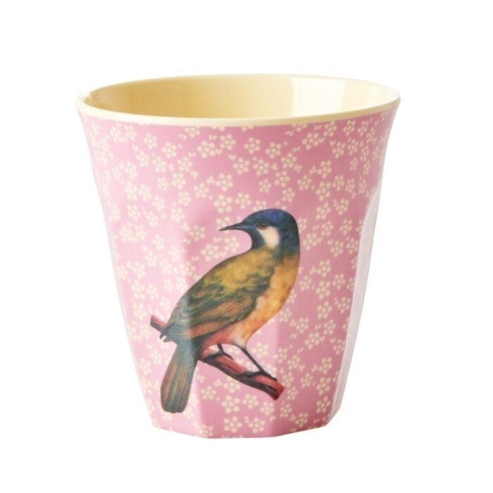 Rice cup M vintage bird pink