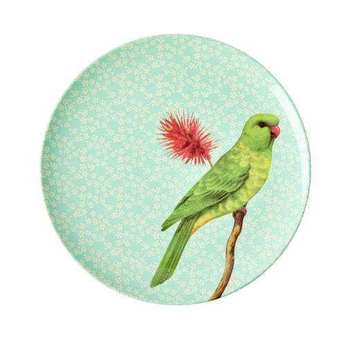 Rice mel side plate vintage bird green